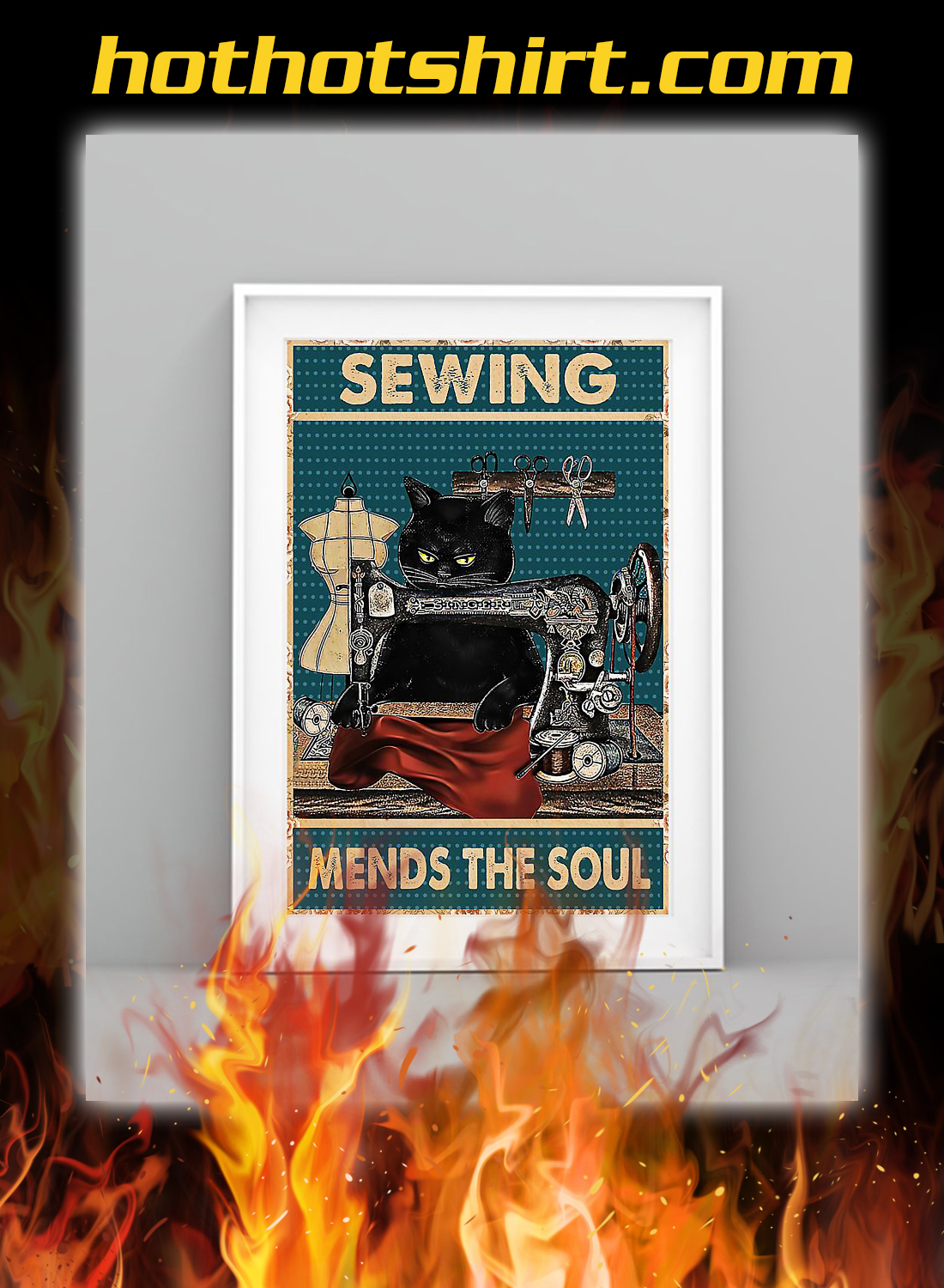 Cat sewing mends the soul poster 1