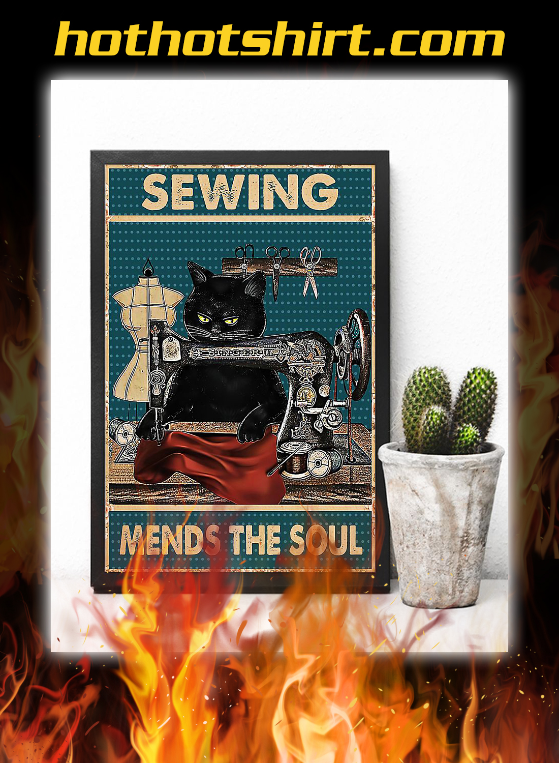 Cat sewing mends the soul poster 2
