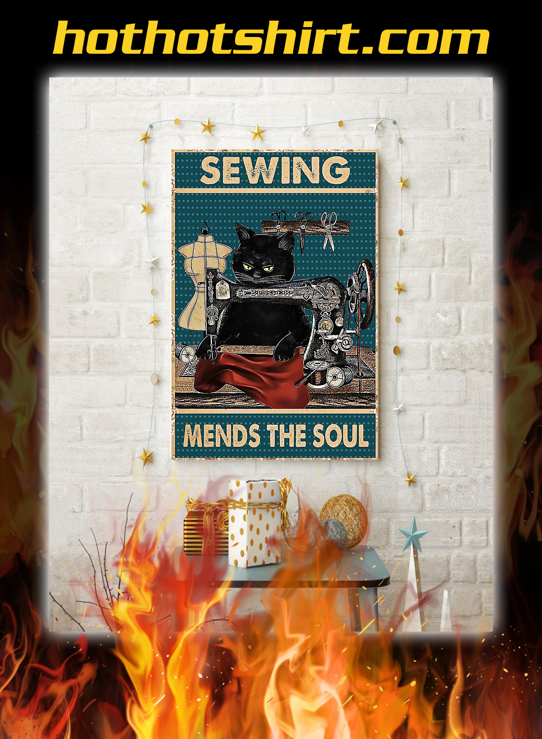 Cat sewing mends the soul poster 3