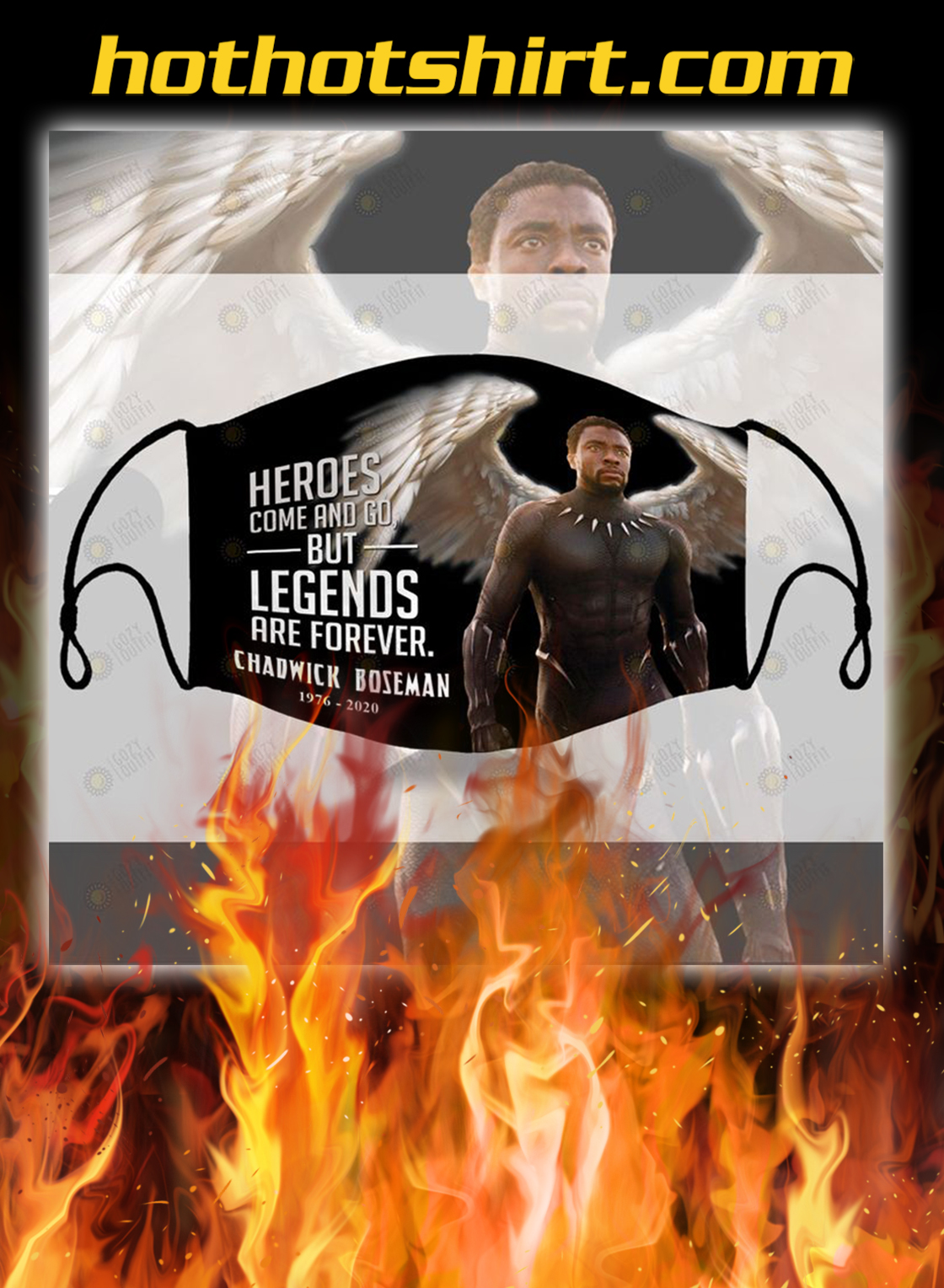 Chadwick boseman heroes come and go but legends are forever face mask - pic 1