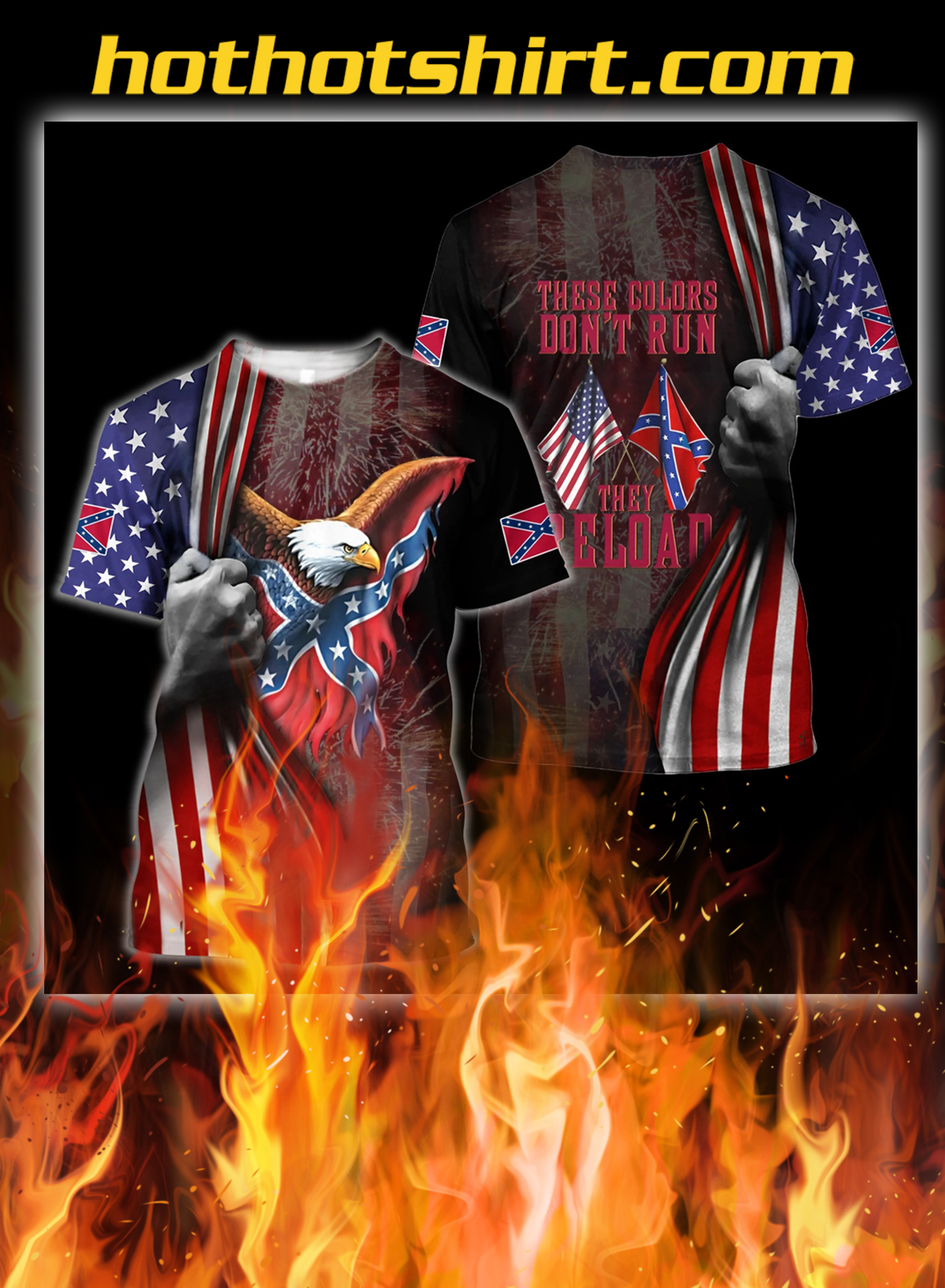 Confederate states of america eagle 3d all over printed shirt