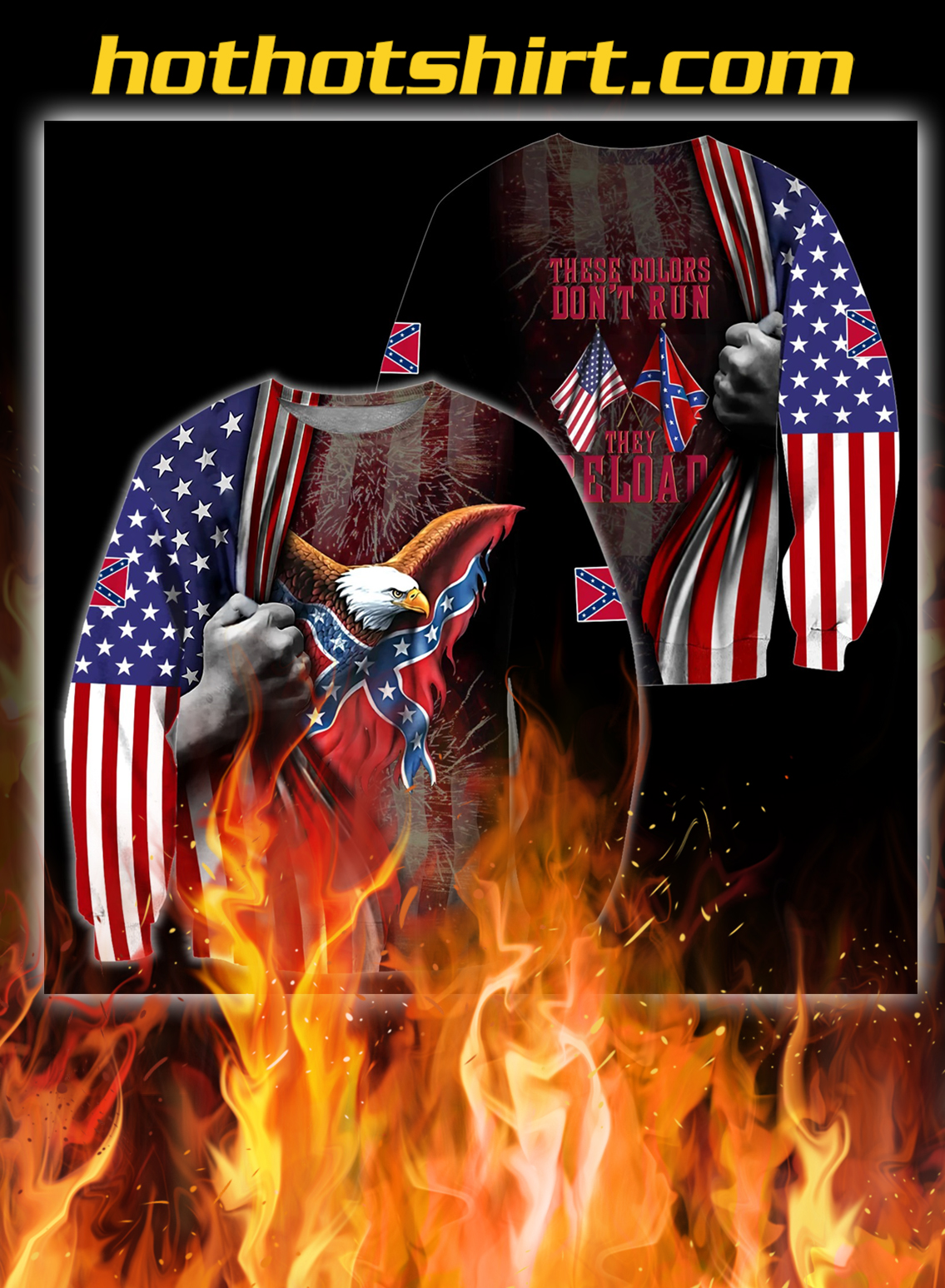 Confederate states of america eagle 3d all over printed sweatshirt
