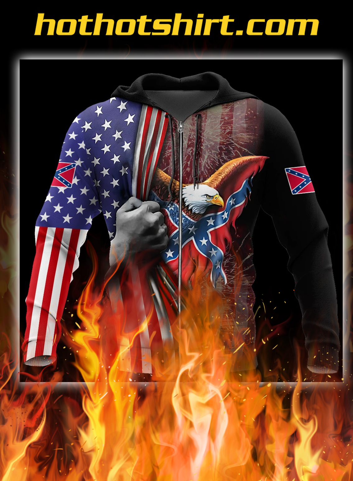 Confederate states of america eagle 3d all over printed zip hoodie