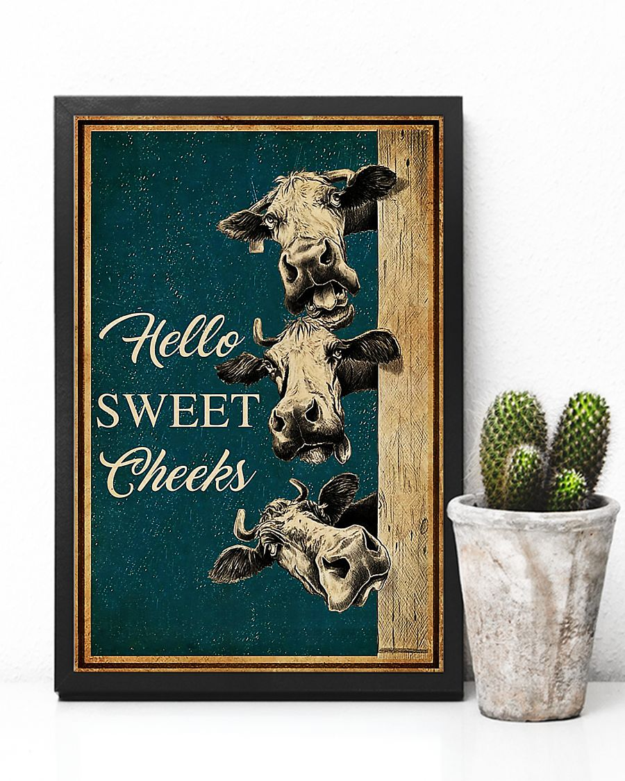 Cow hello sweet cheeks poster 2