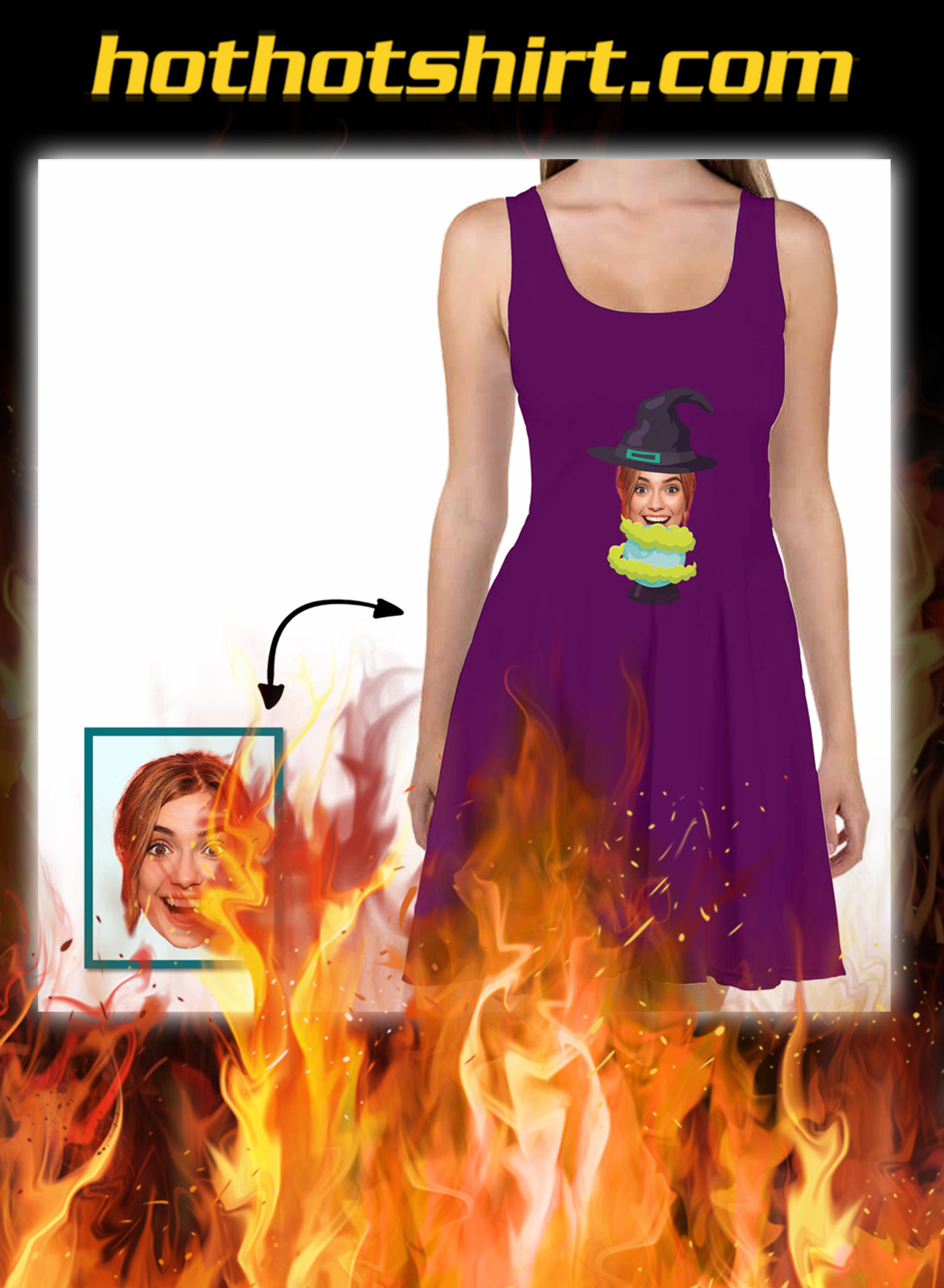 Custom Face Skater Dress Witches And Predict Crystal Ball- pic 1