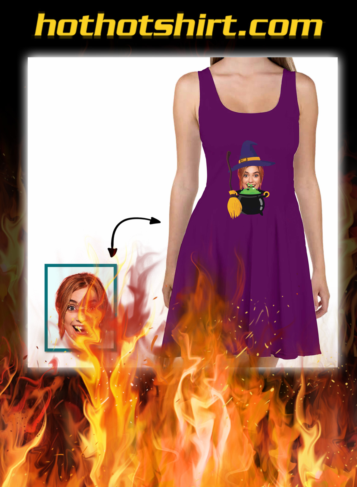 Custom Face Skater Dress Witches With Broom And Potion Pot- pic 1