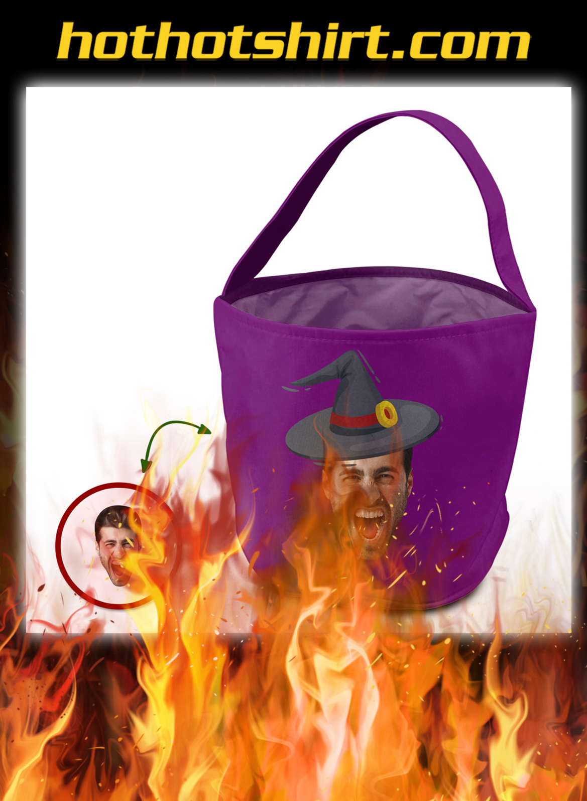 Custom face trick or treat bag excited witches- pic 1