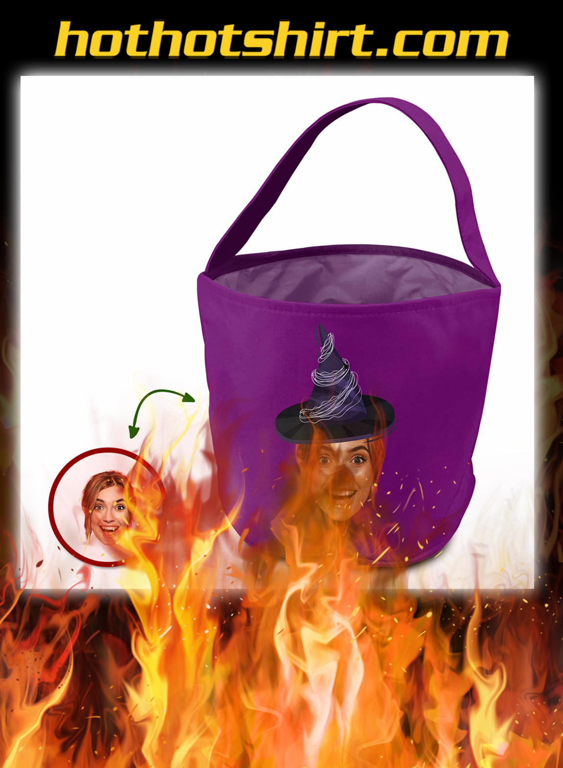 Custom face trick or treat bag funny witches- pic 1