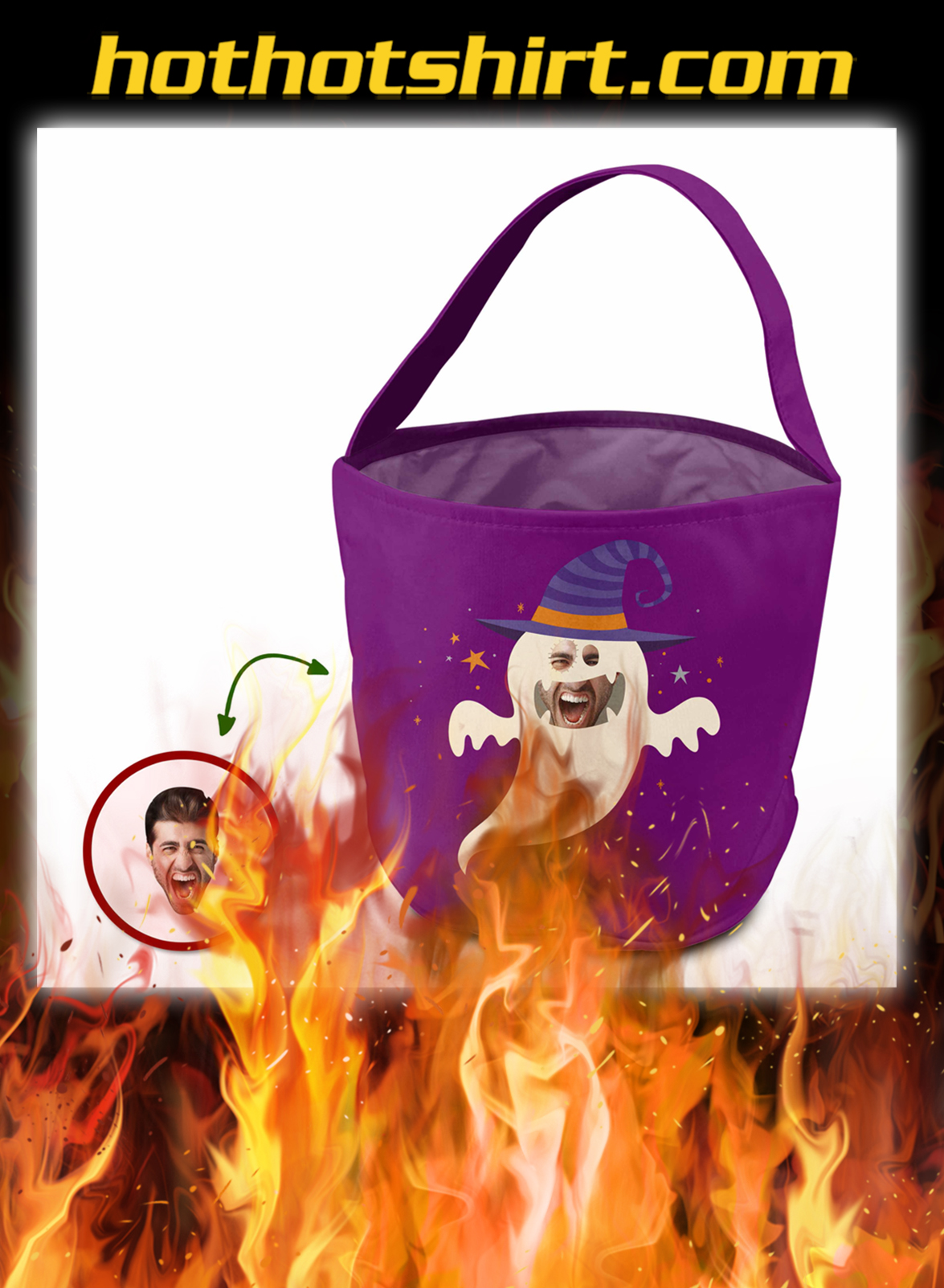 Custom face trick or treat bag ghost cosplay halloween- pic 1