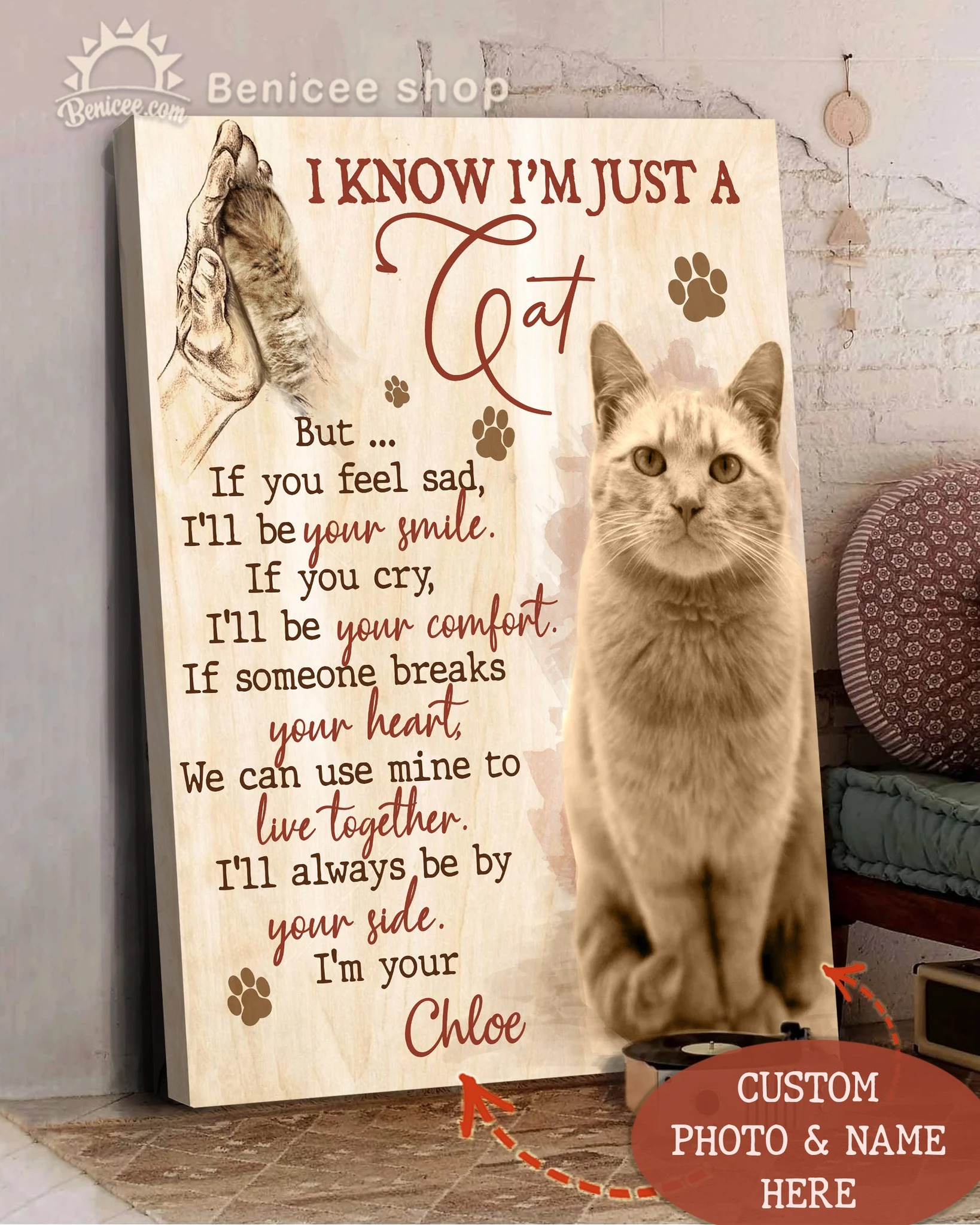 Custom photo and name i know i'm just a cat canvas prints 1