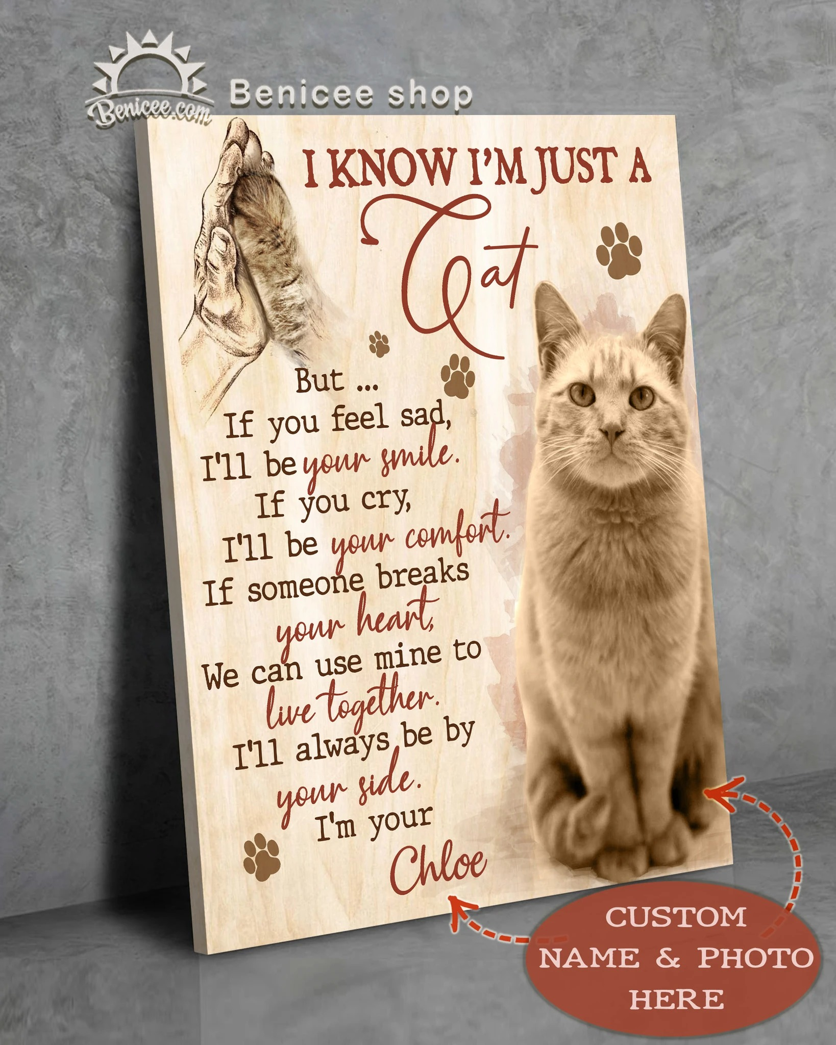 Custom photo and name i know i'm just a cat canvas prints 2