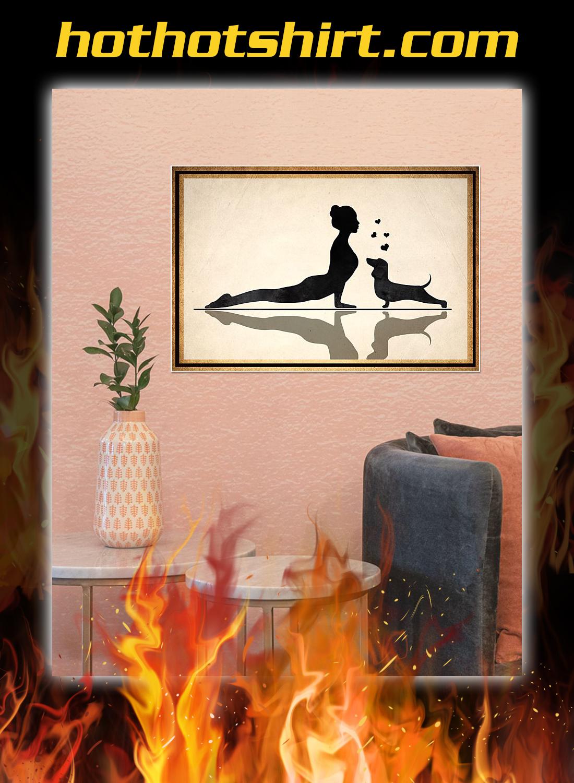 Dachshund and yoga poster 2