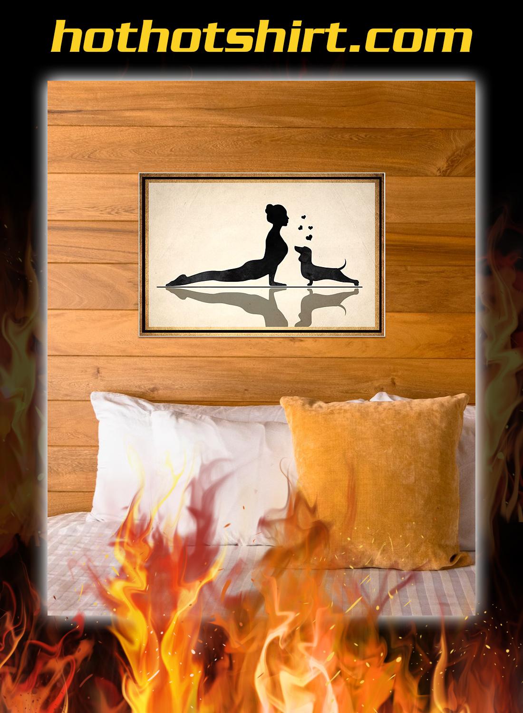 Dachshund and yoga poster 3