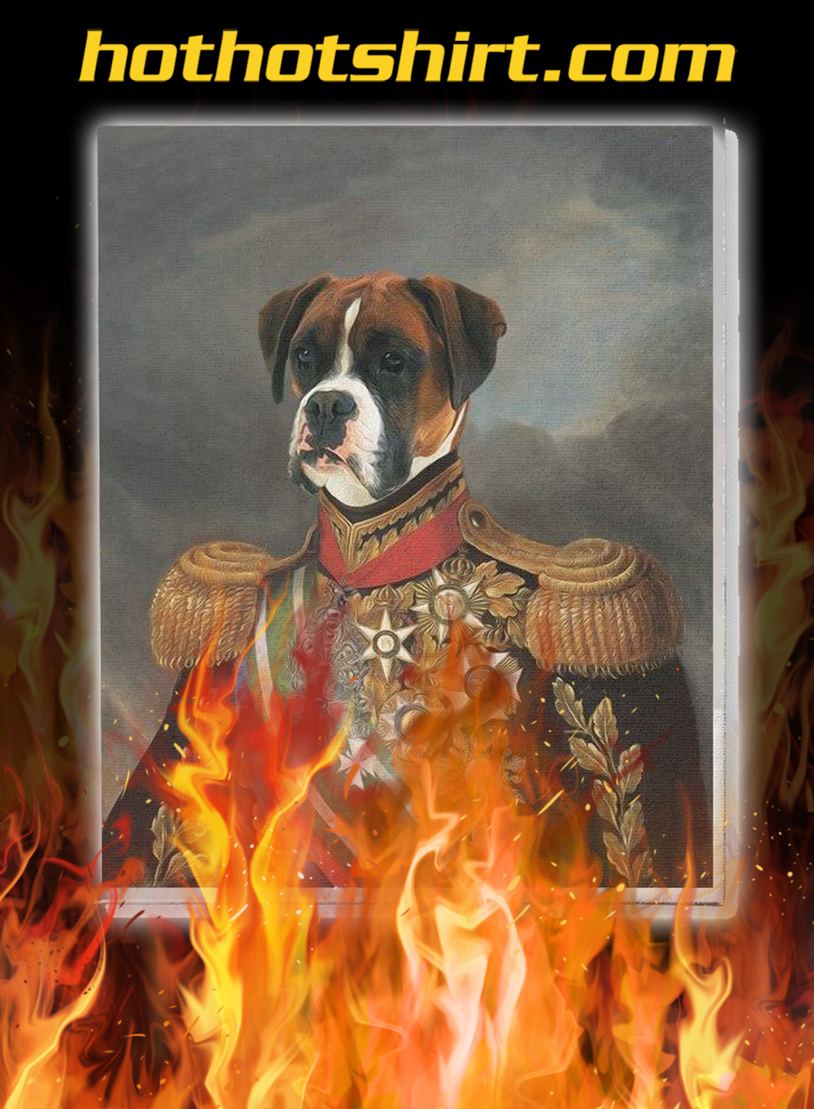 Dog army custom personalized vertical canvas prints - pic 1