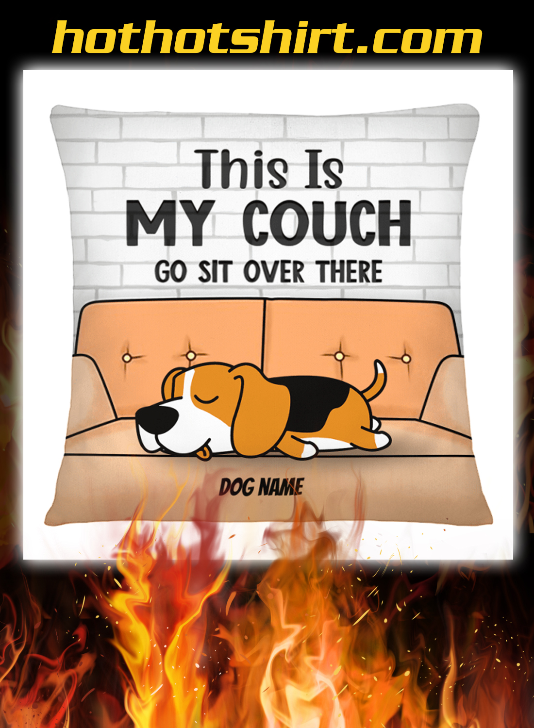 Dog this is my couch go sit over there pillow detail