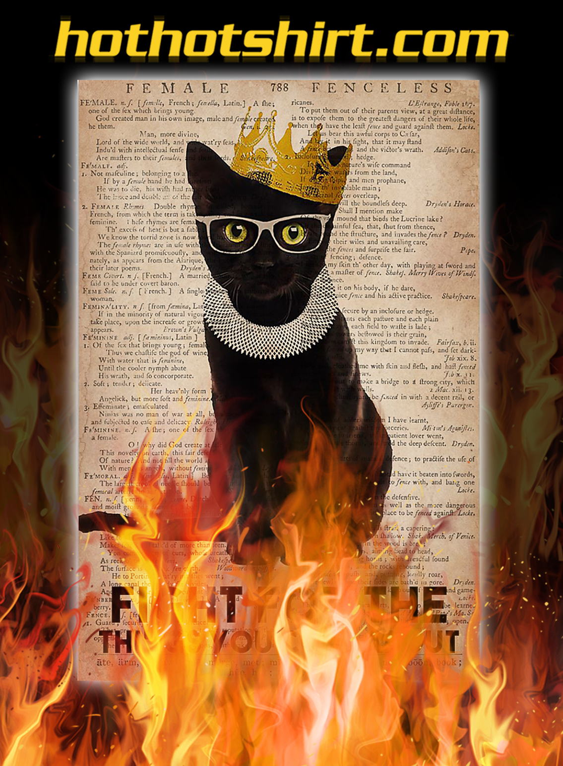 Feminist ruth bader ginsburg cat fight for the things you care about poster - A3