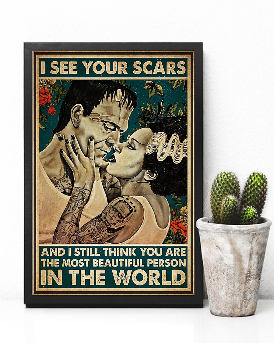 Frankenstein and bride I see your scars poster 1