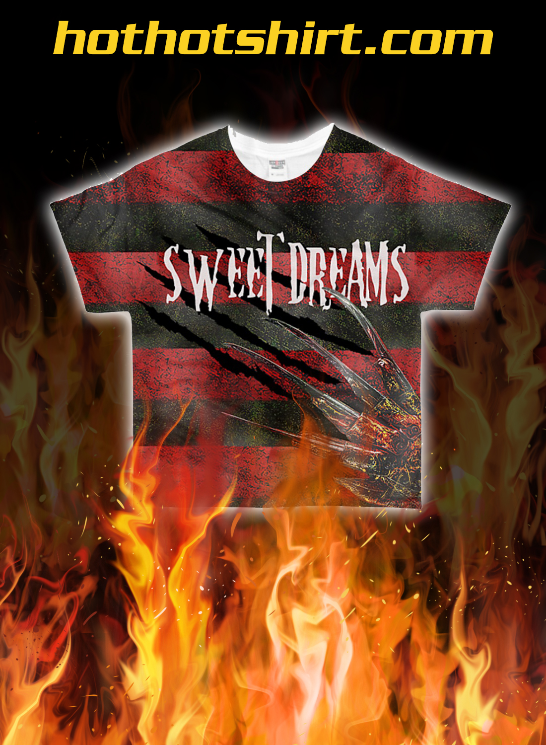Freddy Krueger sweet dreams one two 3d all over printed t-shirt