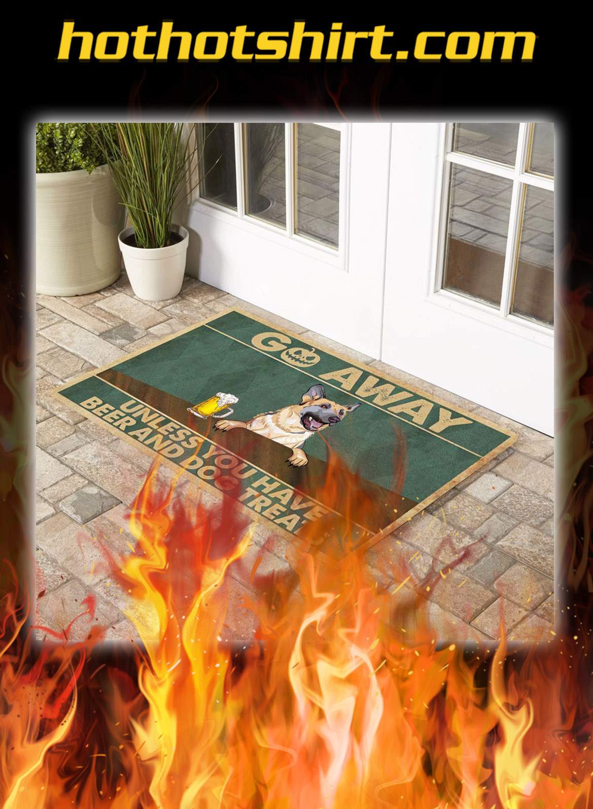German shepherd go away unless you have beer and dog treats doormat- pic 1