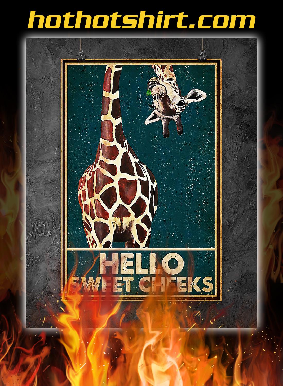 Giraffe hello sweet cheeks poster 1
