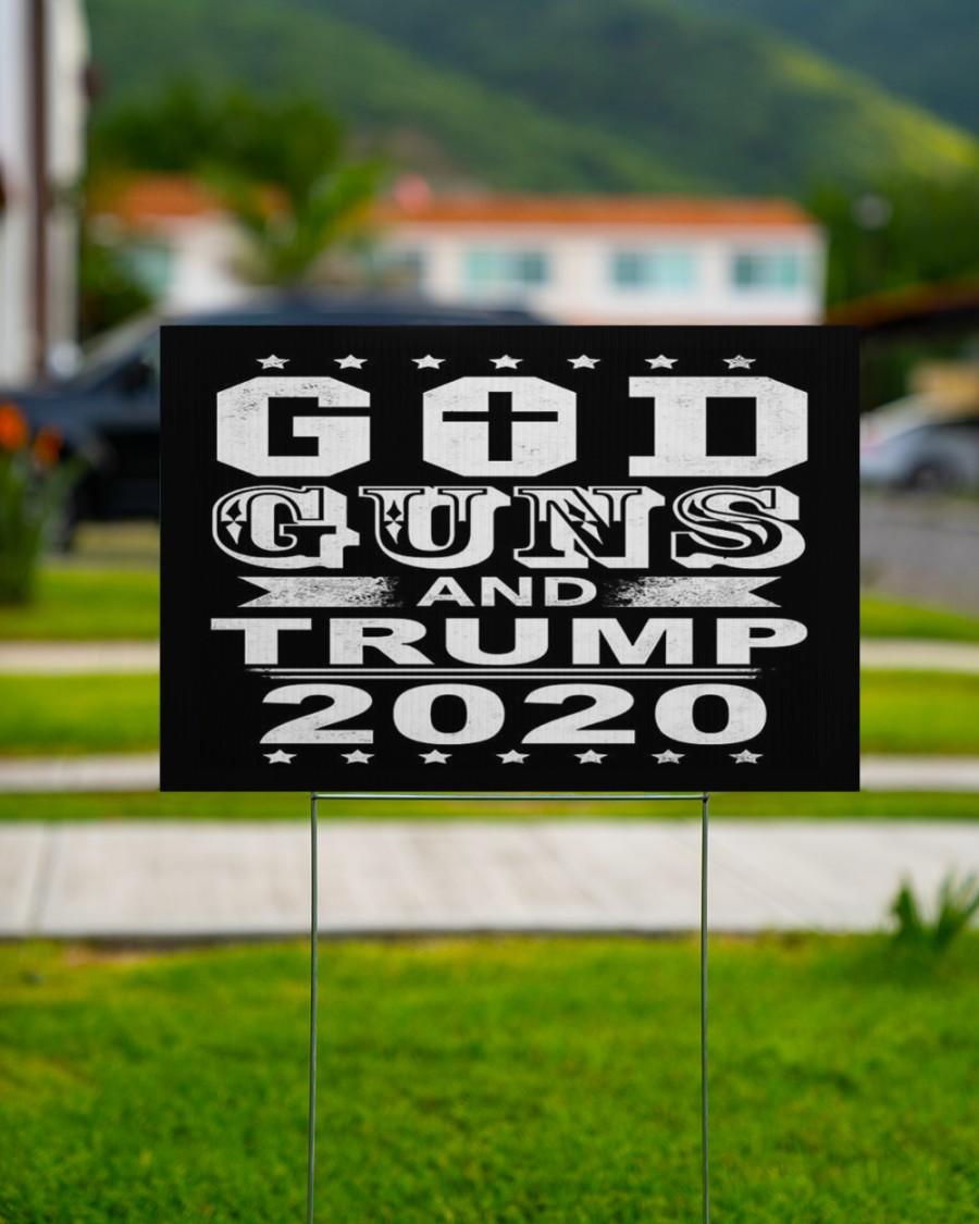 God guns and trump 2020 yard sign 1