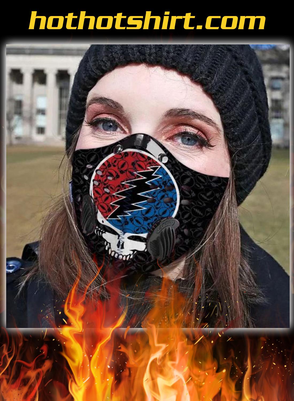Grateful dead band filter carbon face mask - detail