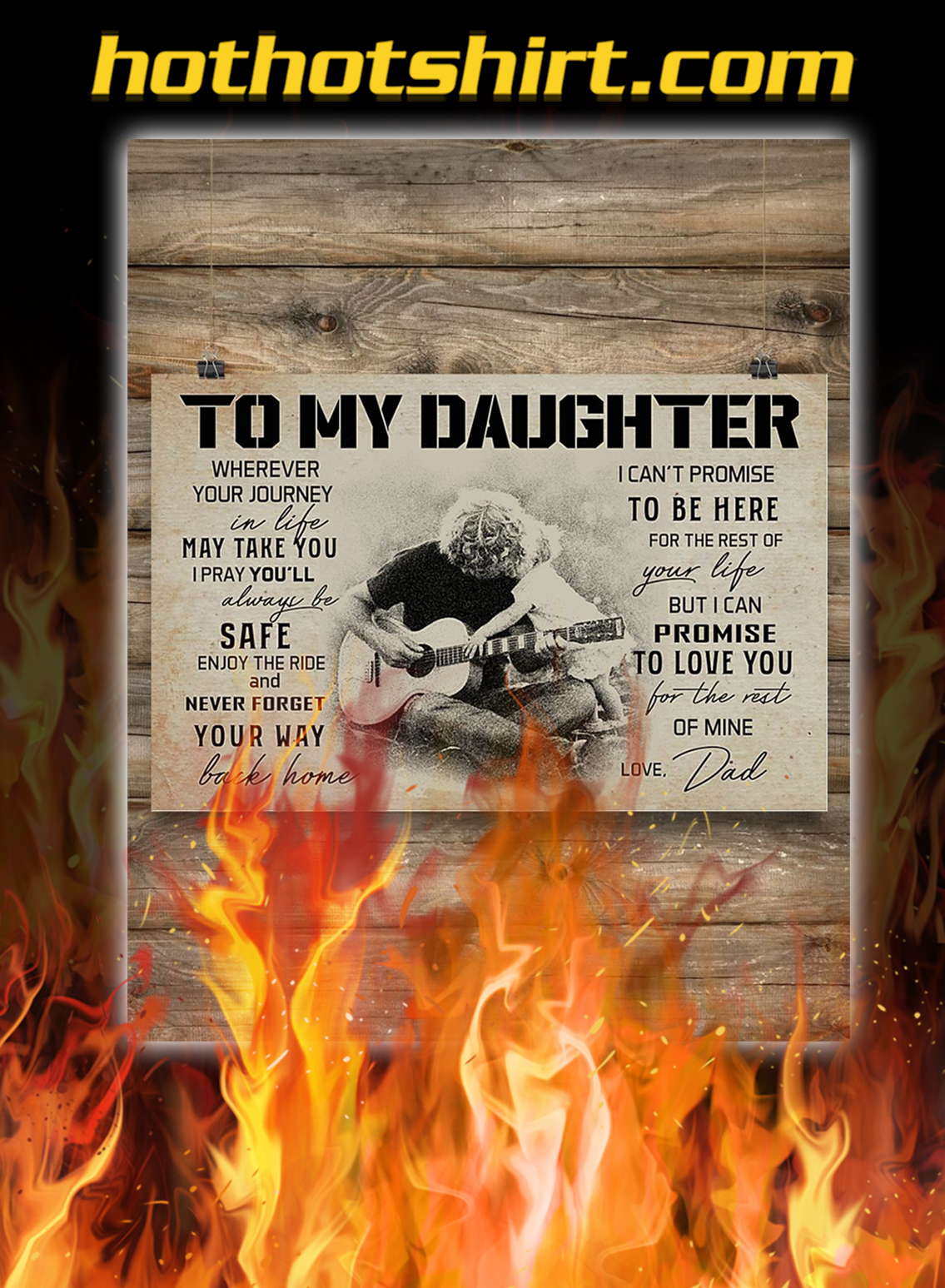 Guitar to my daughter love dad poster- A1