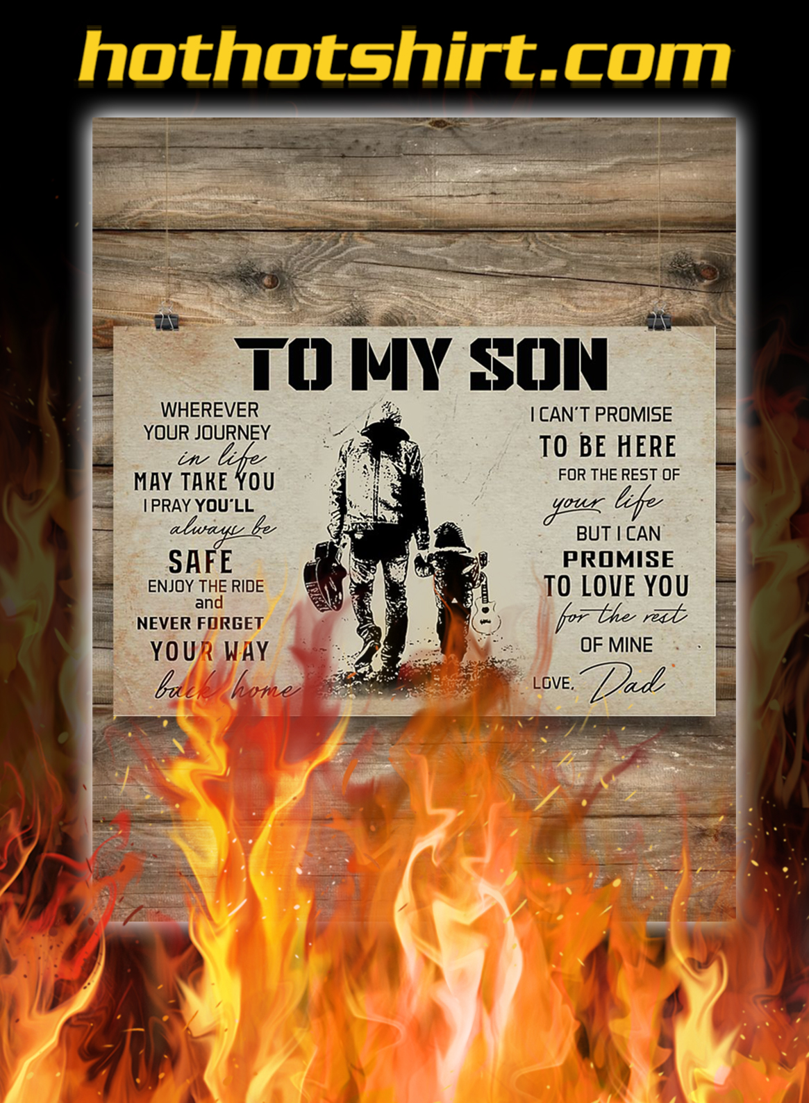 Guitar to my son love dad poster- A2