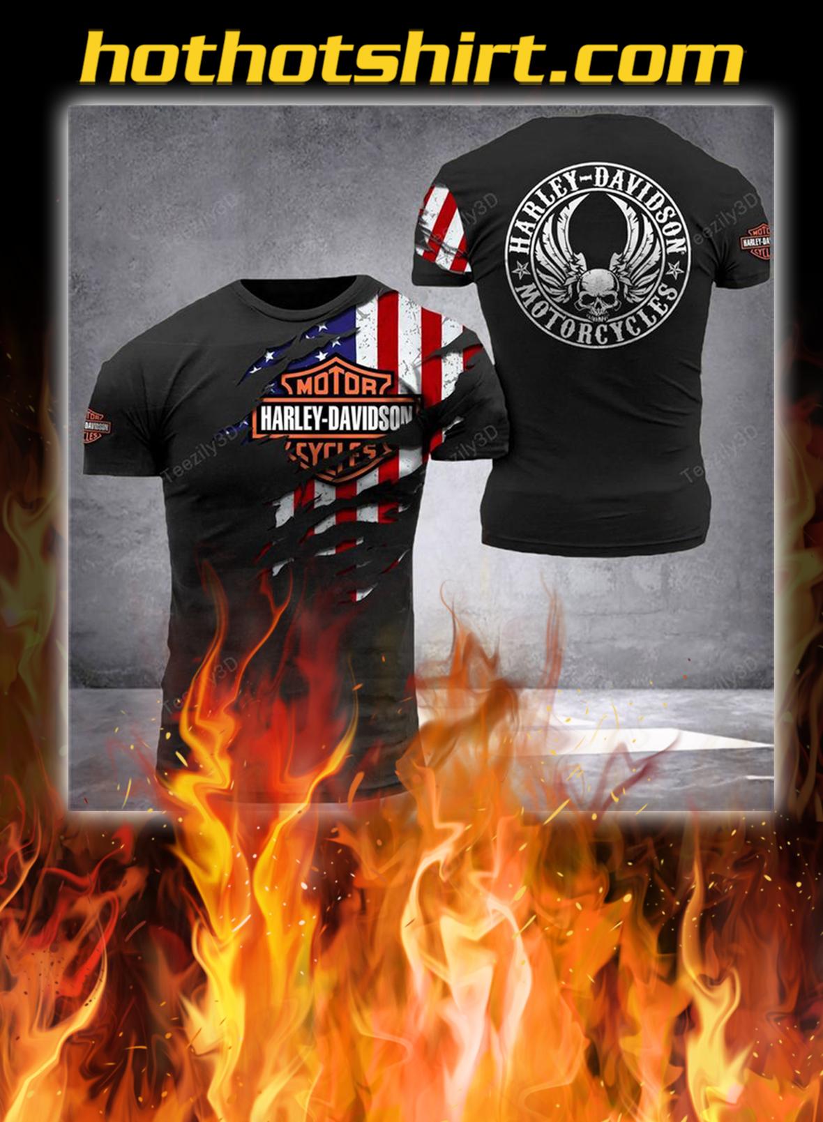 Harley davidson american flag camo 3d shirt- black