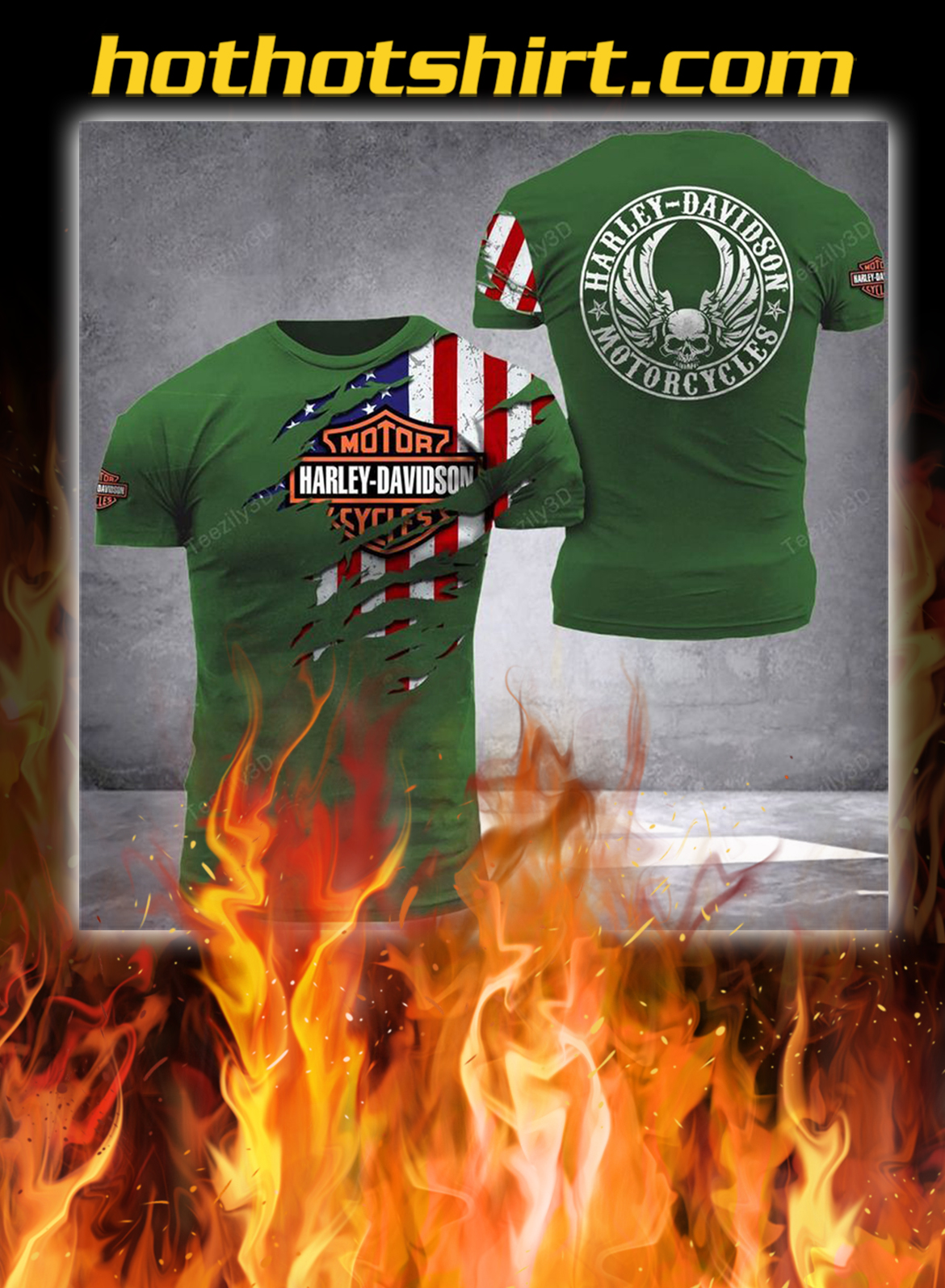 Harley davidson american flag camo 3d shirt- green