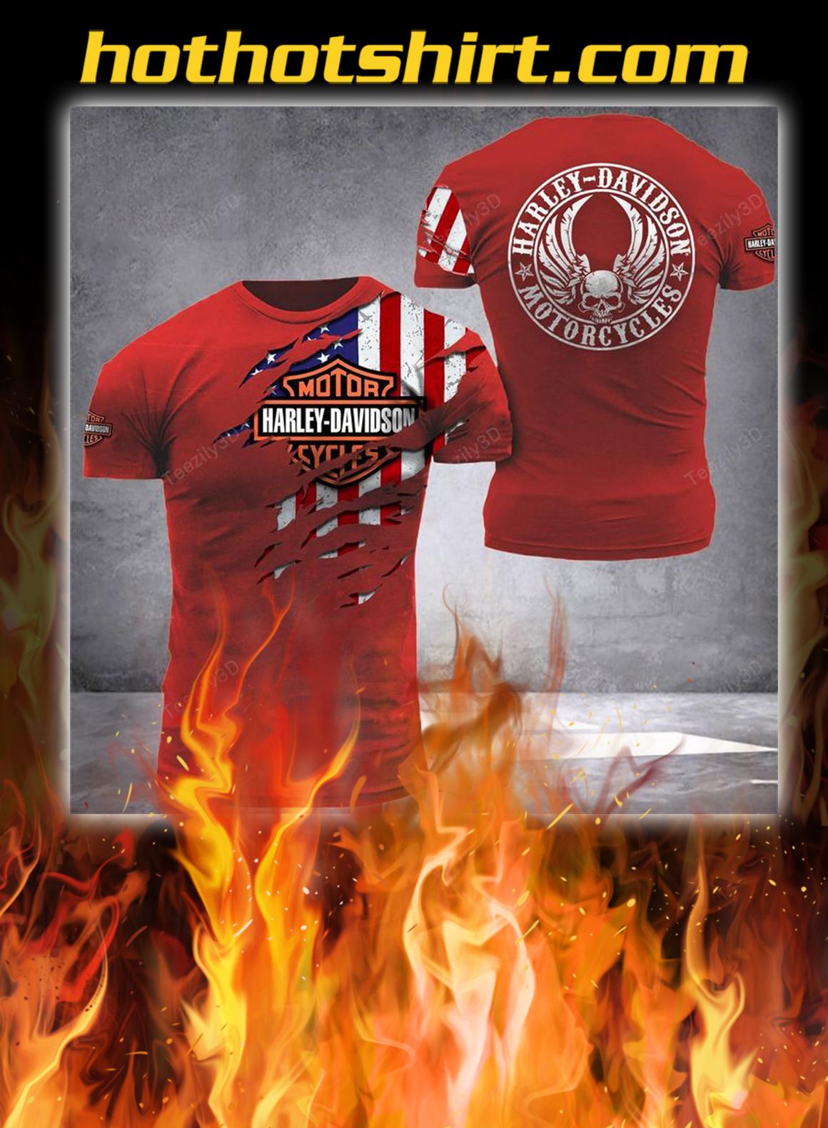 Harley davidson american flag camo 3d shirt- red