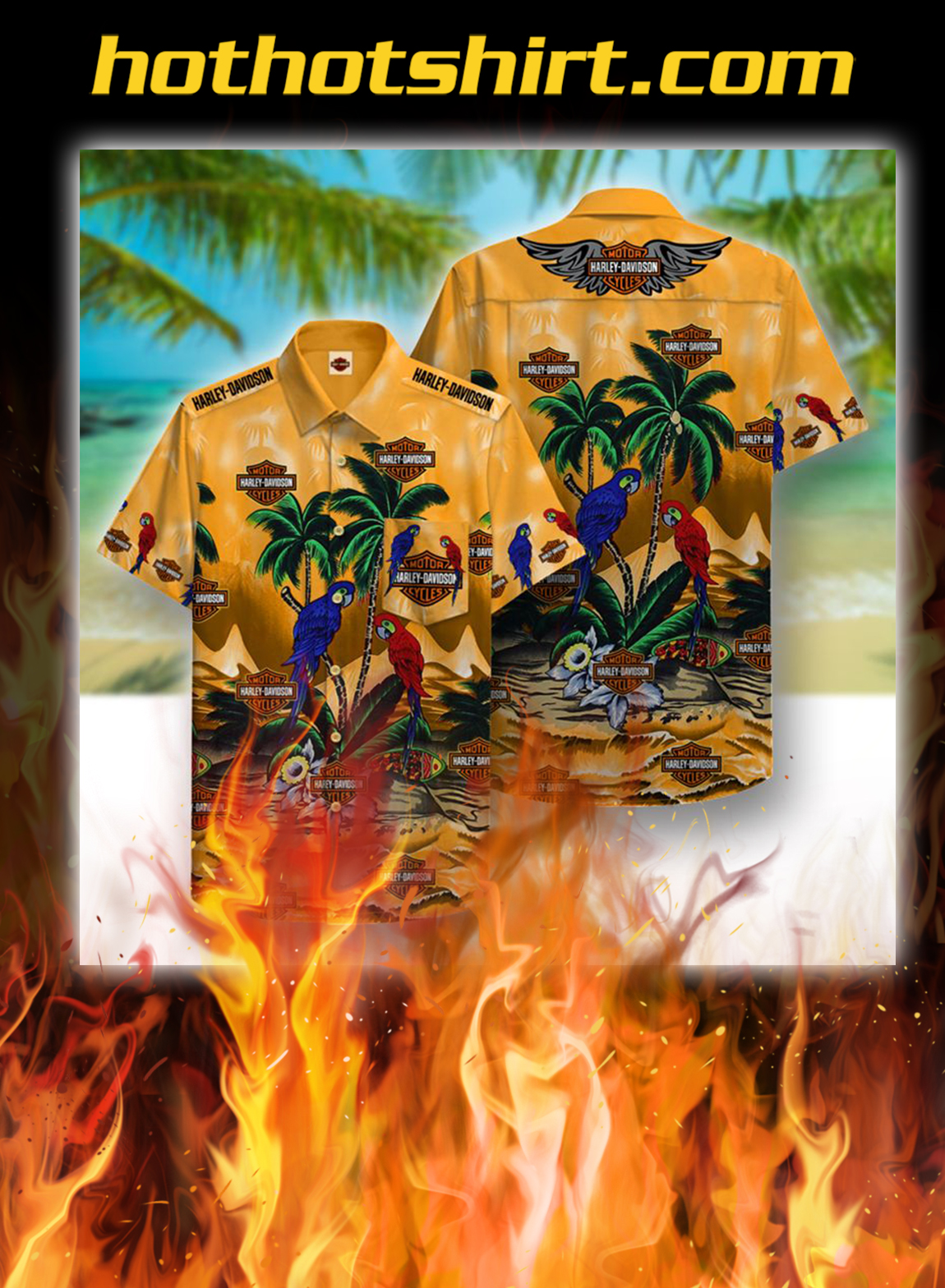 Harley davidson beach parrots hawaiian shirt - S