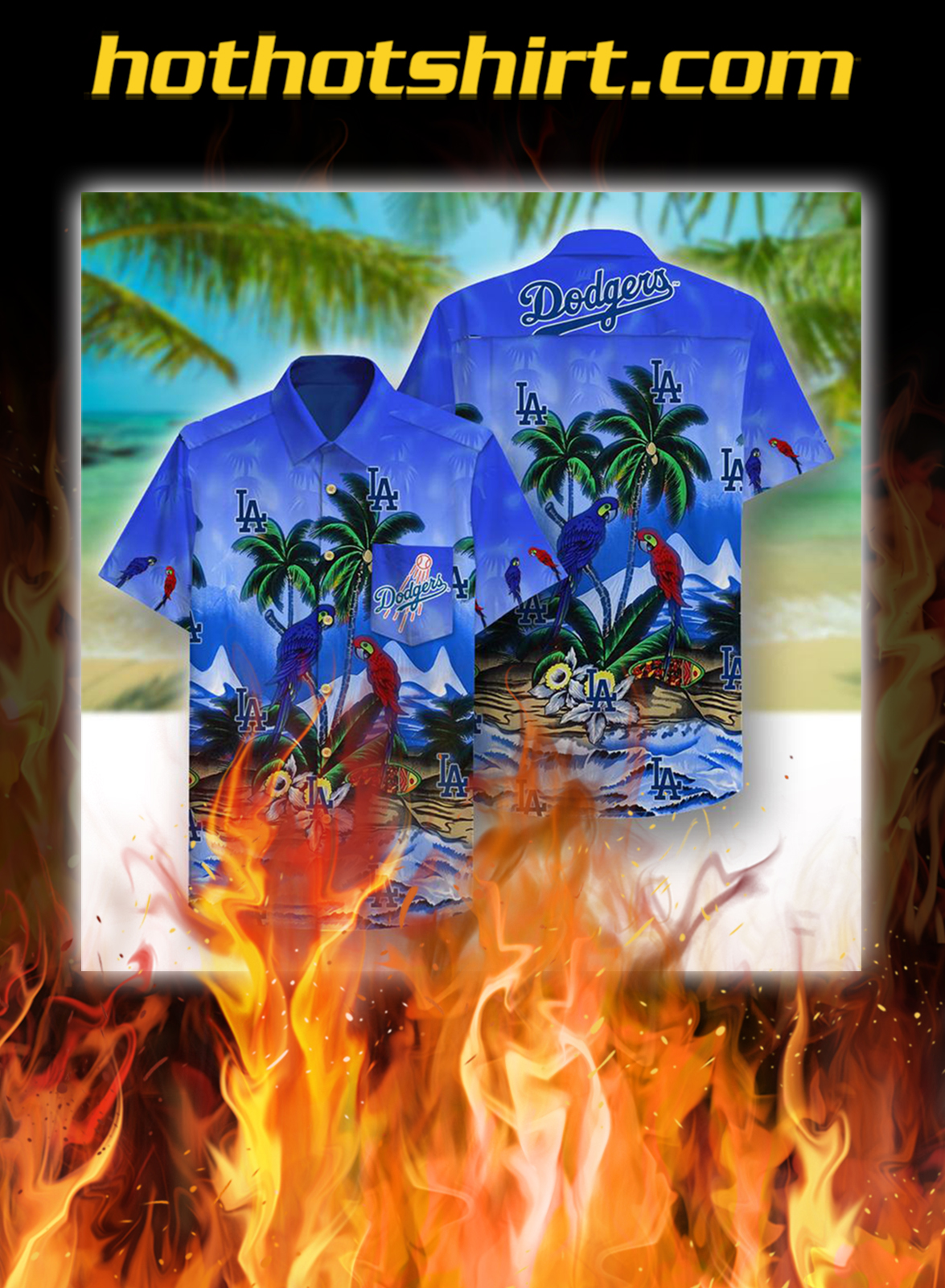 Los angeles dodgers beach parrots hawaiian shirt - M