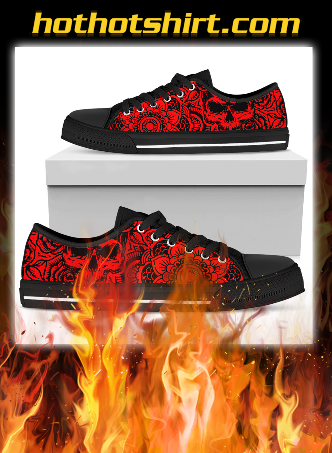 Mandala and skull inspired low top shoes- pic 3