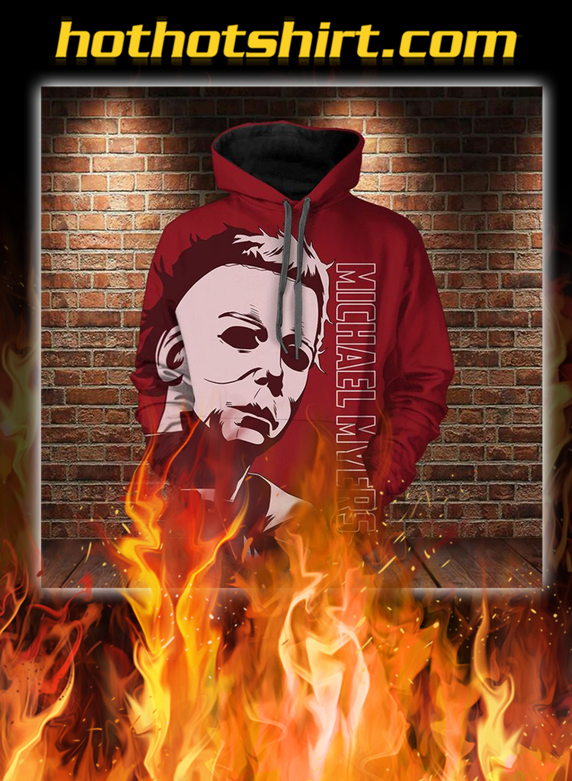 Michael myers 3d all over printed hoodie - L