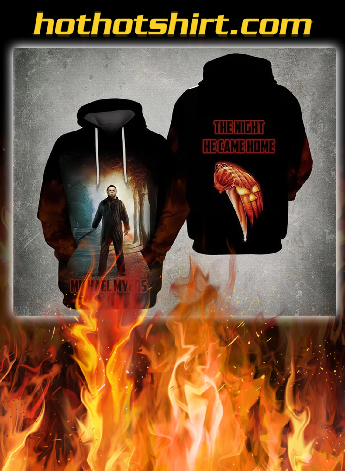 Michael myers the night he came home 3d all over print hoodie - S