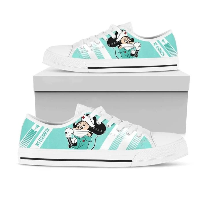 Minnie nurse personalize custom name low top shoes 2