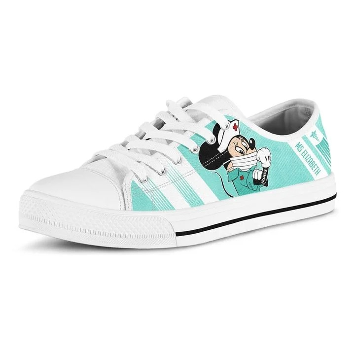 Minnie nurse personalize custom name low top shoes 3