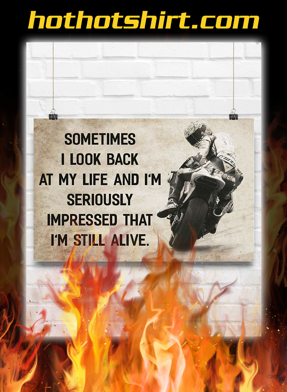 Motorcycle sometimes i look back at my life poster 3
