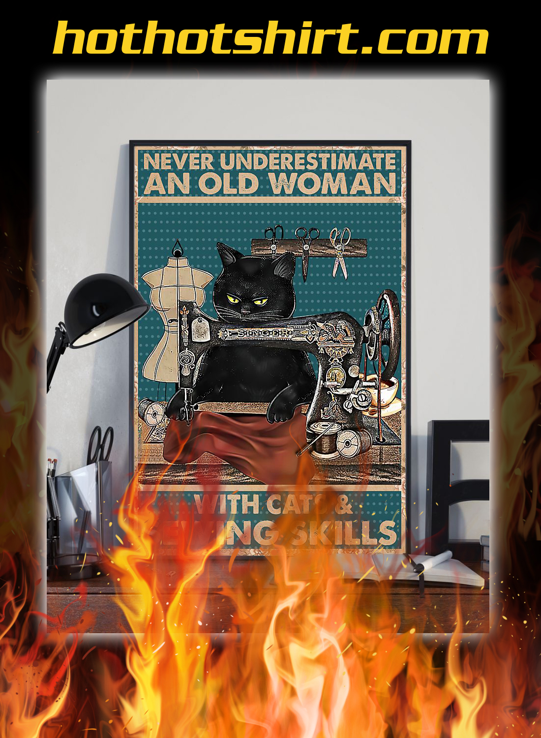 Nerver underestimate an old woman with cats and sewing skills poster 1