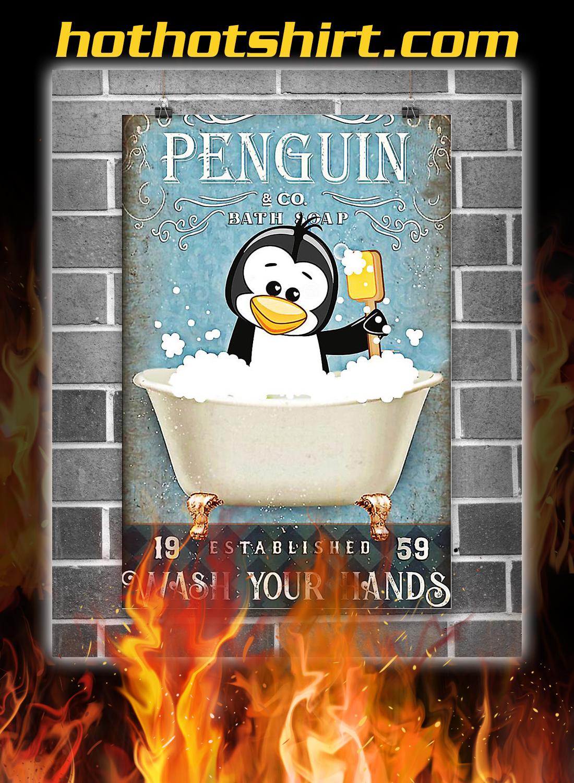 Penguin co bath soap wash your hands poster 1