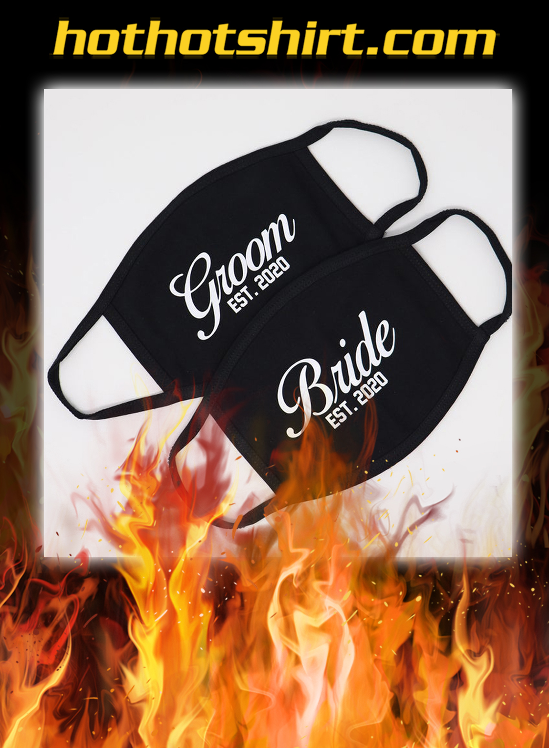 Personalized Pack of 2 Black Color Bride and Groom Wedding Face Mask- pic 1