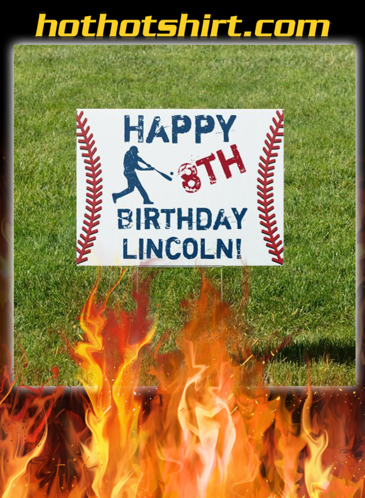 Personalized baseball happy birthday yard sign- pic 1