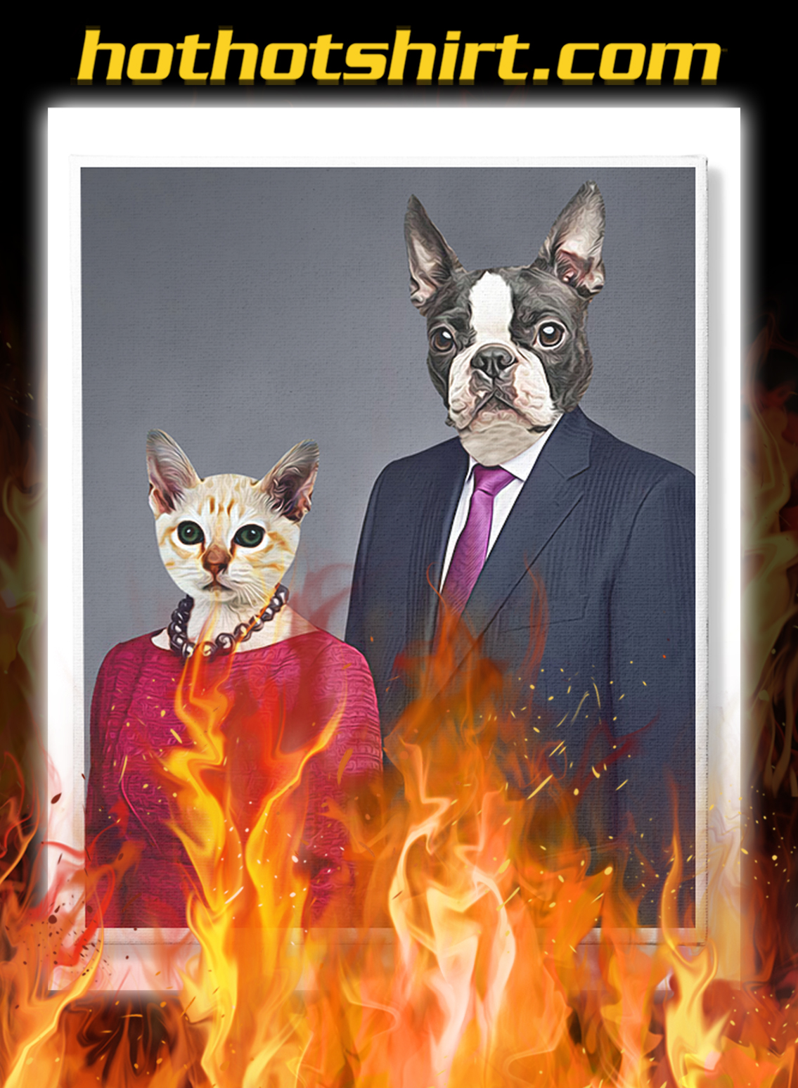 Personalized custom dog cat couple and pet photo canvas prints- pic 1