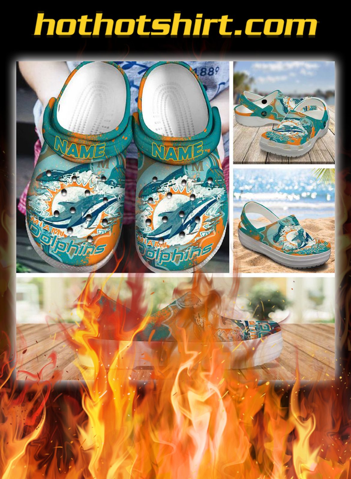 Personalized custom name miami dolphins crocs crocband clog- pic 1