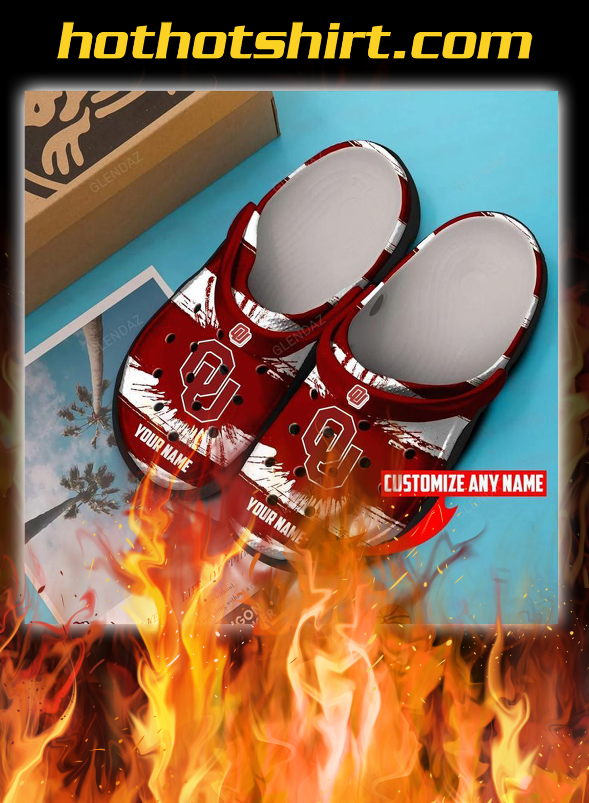 Personalized custom name oklahoma sooners crocband crocs shoes- pic 1