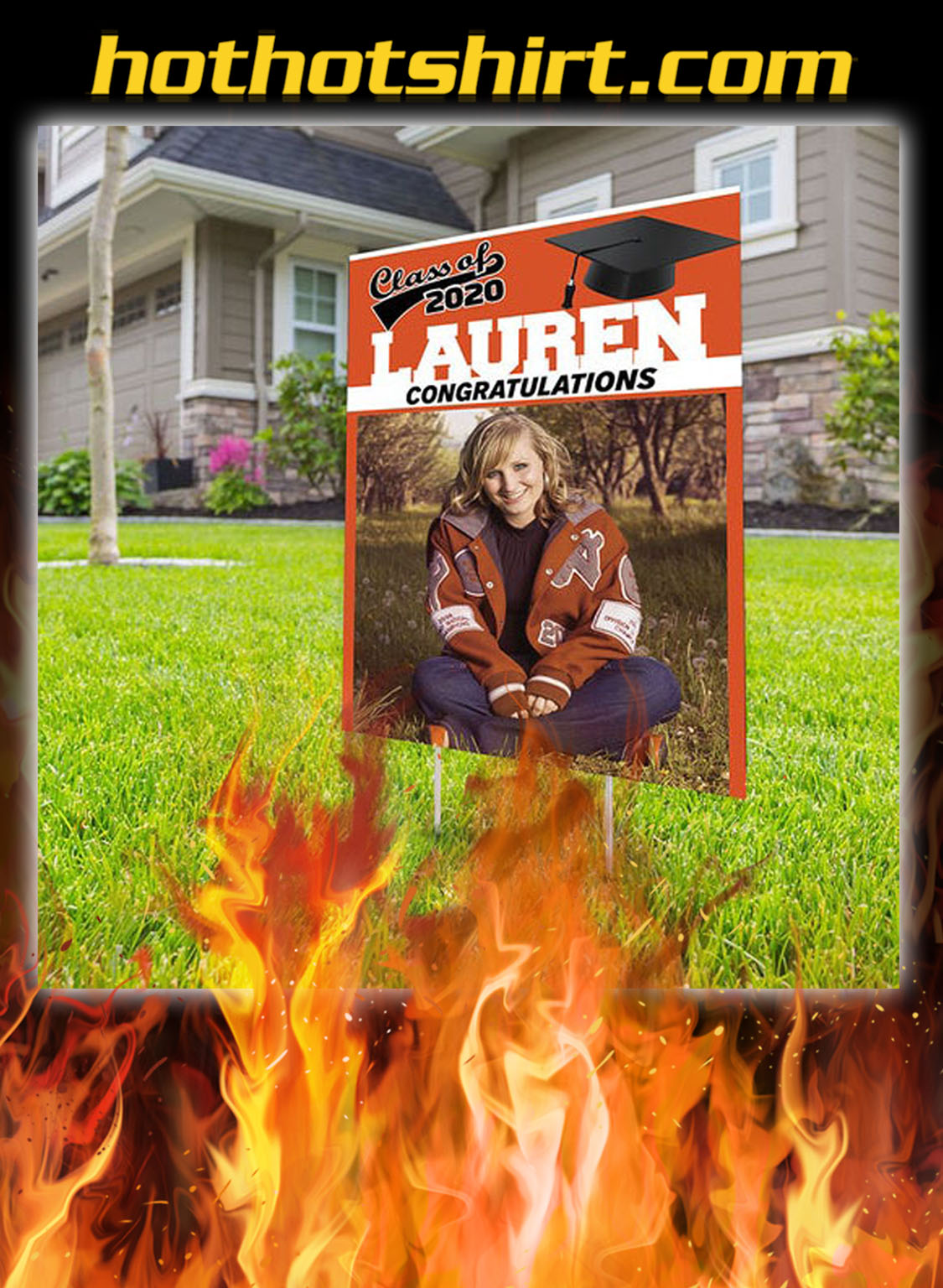 Personalized custom name photo class of 2020 proud of you yard sign- pic 1