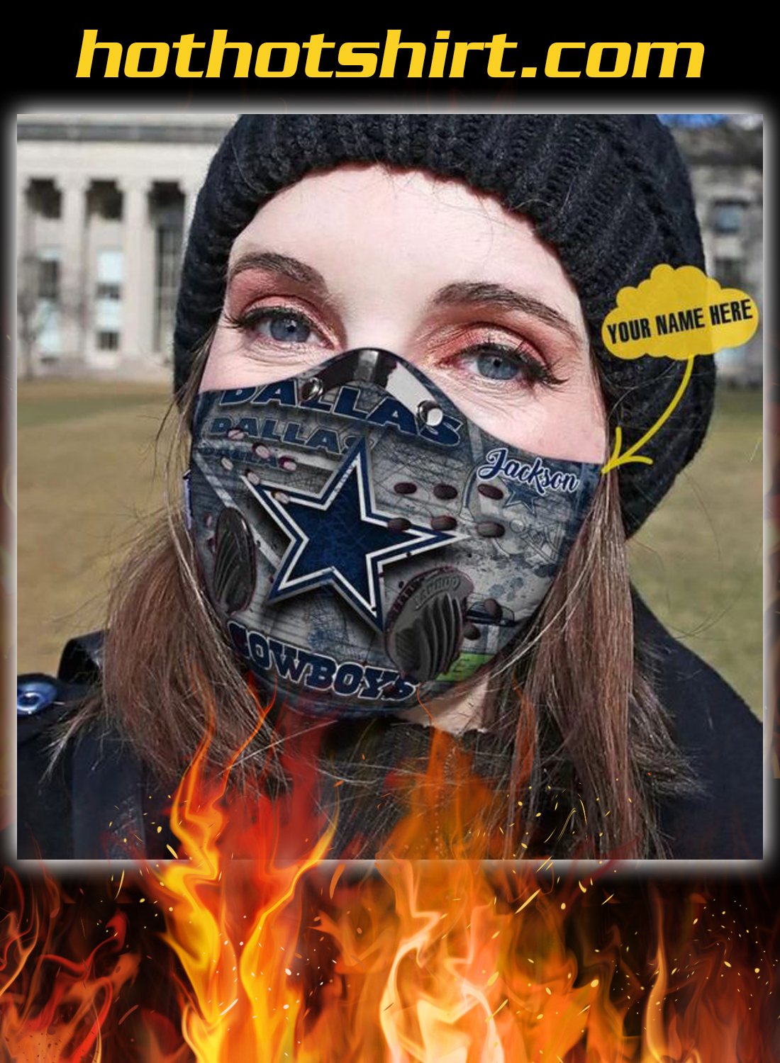 Personalized dallas cowboys nfl filter face mask - mockup