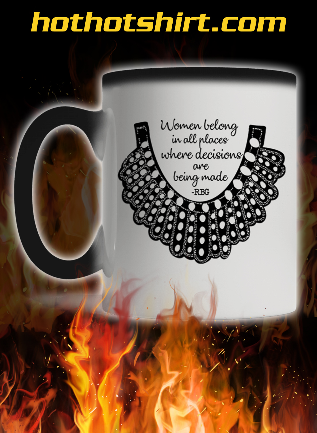 Rbg collar women belong in all places mug - color change
