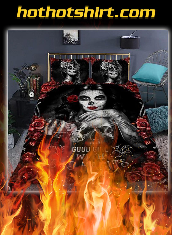 Skull girl good girl with bad habits quilt bedding set- queen